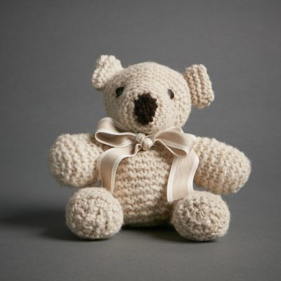 Hand Knitted Teddy Bear Grey Global Sisters