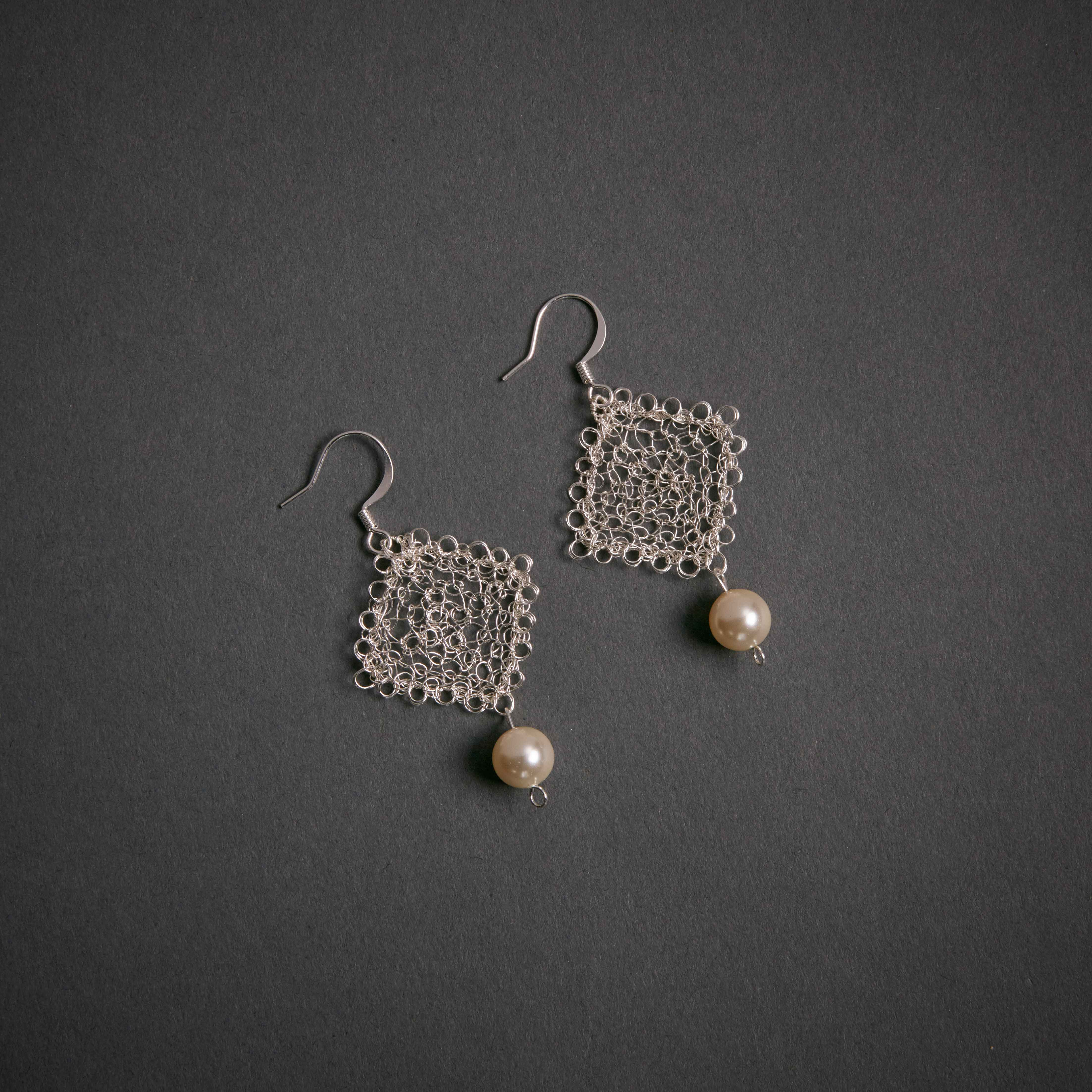 Silver Square Crochet Wire With Swarovski Pearl Global Sisters