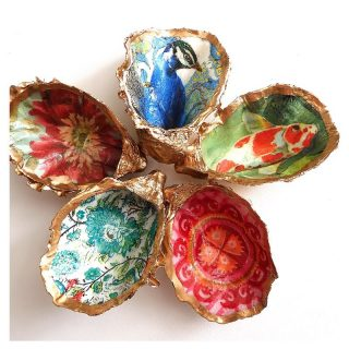 So gorgeous 💞  Beadoire Glass - Queensland #BackHerBrilliance  A truly unique gift, this Gilded Oyster Shell Trinket Dish would make a gorgeous and individual gift or self-indulgent treat!  Each of these Oyster shells has been carefully hand embellished with decoupage paper, to create a perfect trinket dish in which to hold your rings, earrings or other special pieces of jewellery.  Each dish is uniquely different. The reverse of each dish has been painted gold using liquid leaf and has a matching gilt edge carefully applied by hand around the inner rim of the shell before having gloss lacquer applied.  Shop now on our Marketplace